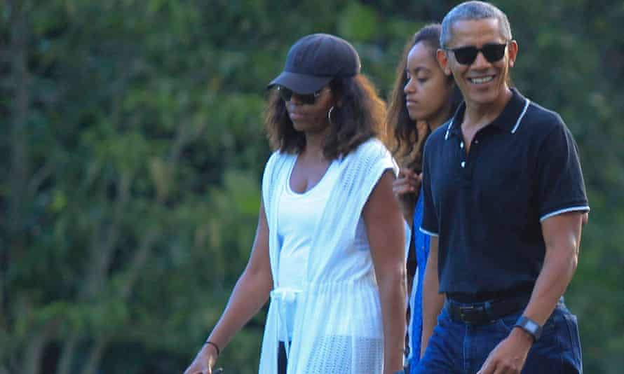 Former US President Barrack Obama and his family at Borobudur Temple in Magelang, Indonesia.