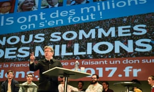 Jean-Luc Melenchon addresses supporters during a public meeting in Bordeaux