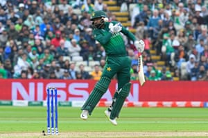Mohammad Hafeez of Pakistan is hit by a bouncer from Lockie Ferguson of New Zealand.