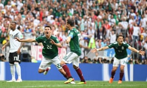 Mexico's Hirving Lozano celebrates scoring the only goal to beat defending champions Germany at the Luzhniki Stadium, only the second time the have beaten Germany, their last win against them came in a friendly in June 1985.