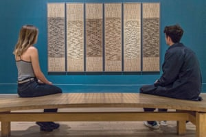 Two viewers look at Six Prayers by Anni Albers at Tate Modern's current retrospective.