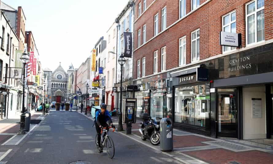 An empty central Dublin main street during lockdown.