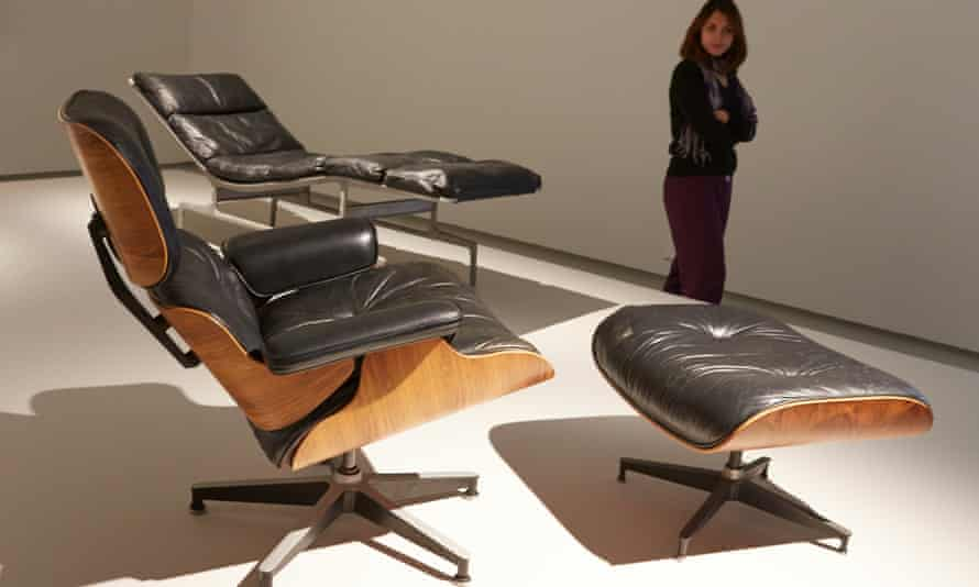 Furniture designed by Charles and Ray Eames, exhibited at the Barbican, London, in October 2015.