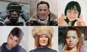 Clockwise from top left: Pa Salieu, Bruce Springsteen, Yaeji, Nilüfer Yanya, Kathleen Edwards, Sufjan Stevens.