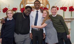 Team England, winners of the 2016 World Schools Debating Championship. From left: Ed Bracey, Ife Grillo, captain Kenza Wilks, Rosa Thomas and Archie Hall