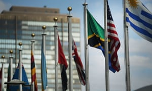 Flags fly outside the United Nations office in New York.
