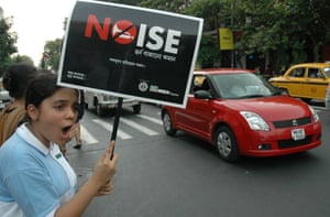 A protest against noise pollution in Kolkata ran by NGO Public.