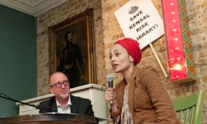 Zadie Smith and Tim Lott at a meeting of the campaign to save Kensal Rise library.