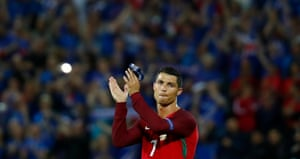 Ronaldo applauds fans at the end.