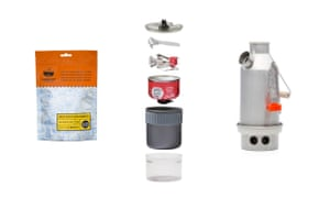 Dehydrated meal, mini stove kit and Kelly Kettle