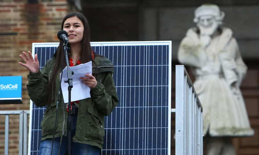 Mya-Rose Craig addresses a Youth Strike 4 Climate protest in Bristol in February