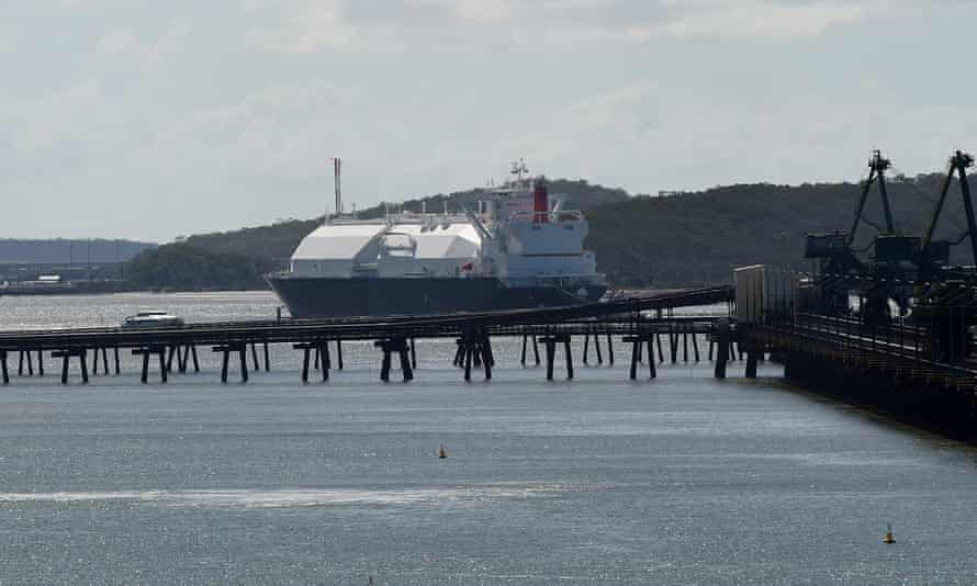 An liquefied natural gas tanker leaves the Port of Gladstone
