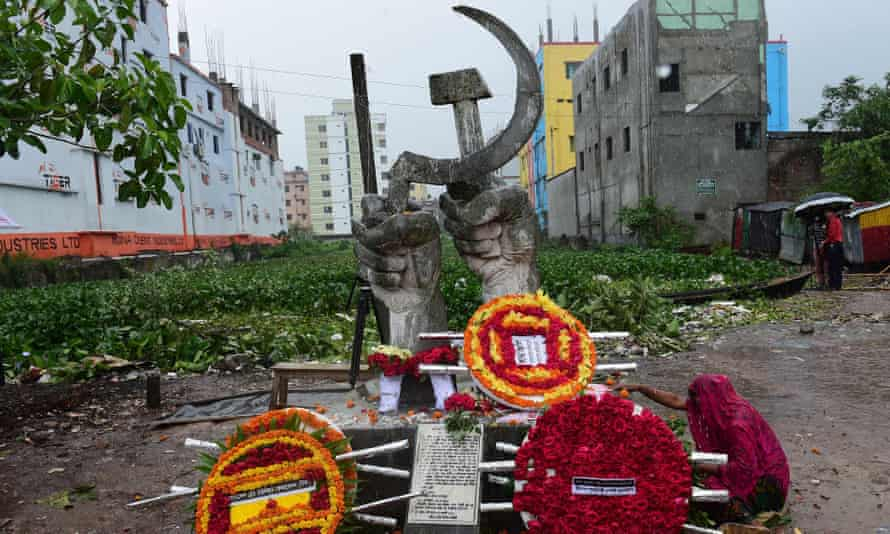 A memorial to those who died in the Rana Plaza collapse on the outskirts of Dhaka, Bangladesh.