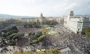 Thousands of protesters gather at Catalunya Square n Barcelona.