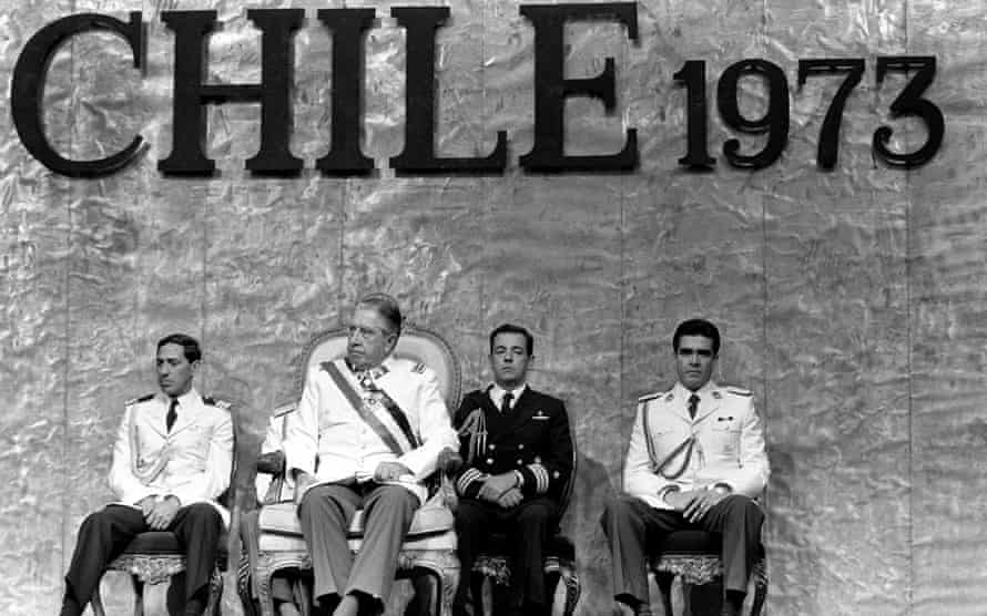 General Pinochet and his Junta at a ceremony in Santiago, in 1985.