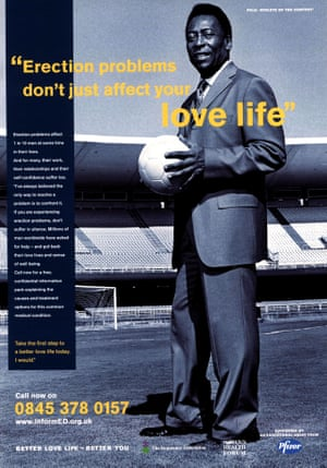 pelé appears in a magazine advert endorsing viagra circa 2000