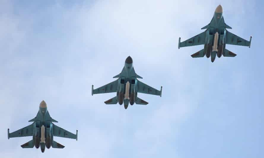 Russian air force Su-34 fighter bombers in flight