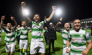 Roberto Lopes, third left, celebrates with teammates after Shamrock reach the FAI Cup final.