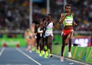 Almaz Ayana of Ethiopia leads the field.