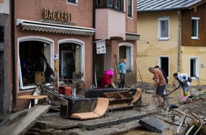 Simbach am Inn, Germany People clean up the flood damage in front of a bakery