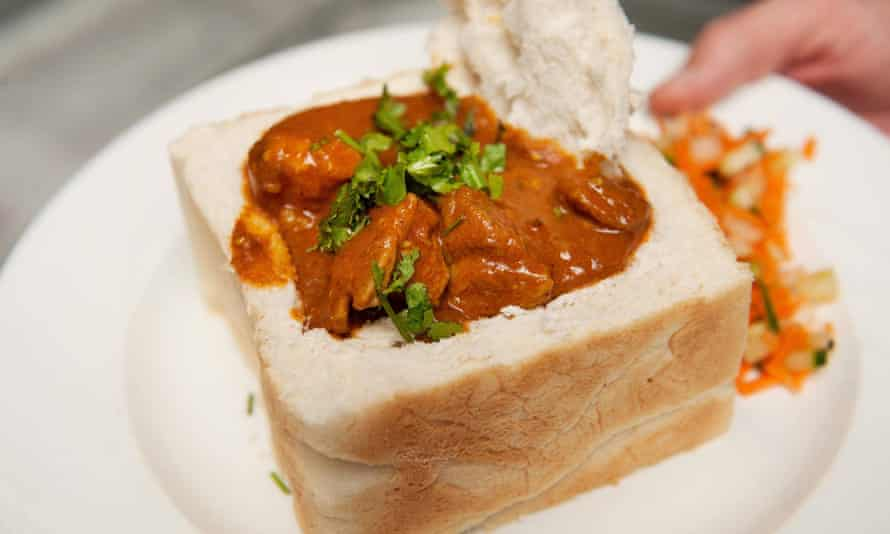A traditional South African bunny chow, Indian curry served in a hollowed out loaf