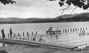 Bathers at Windermere in the Lake District, 1968.