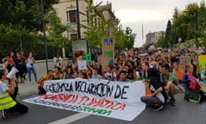 people protesting in granada during global climate strike