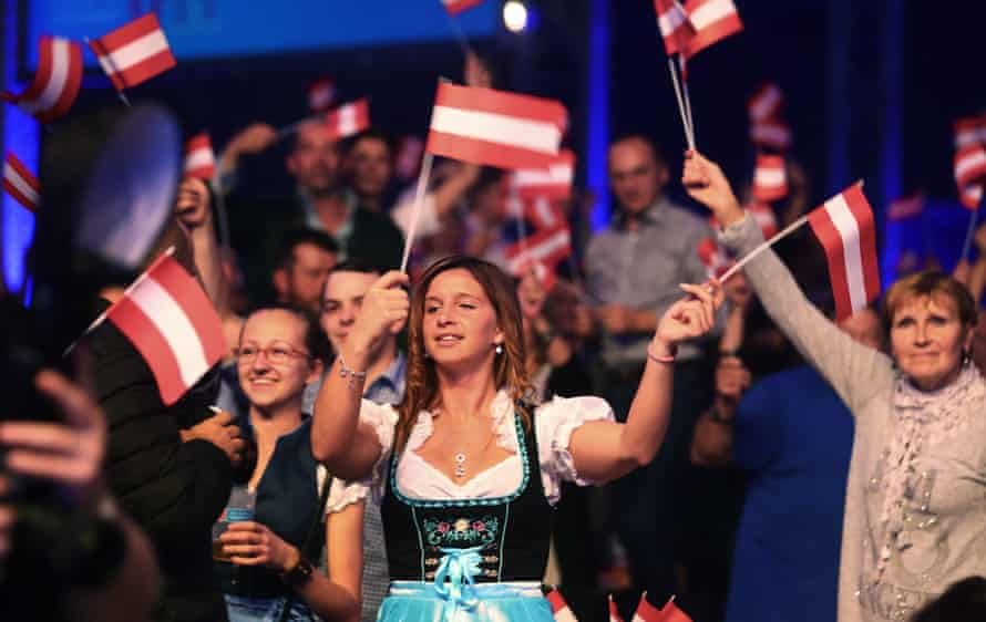 Supporters of far-right Freedom Party in Vienna react after first exit polls last October.