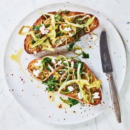 Anna Jones' Turkish-style dark greens on toast.