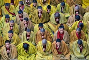 Tibetan lamas chant sutras during a prayer session at the Tashilhunpo Monastery, Tibet Autonomous Region