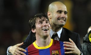 Pep Guardiola with Lionel Messi in 2011 during his time as Barcelona's manager.