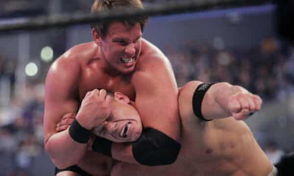 JBL hard at work with John Cena during WrestleMania 21 in Los Angeles in 2005.
