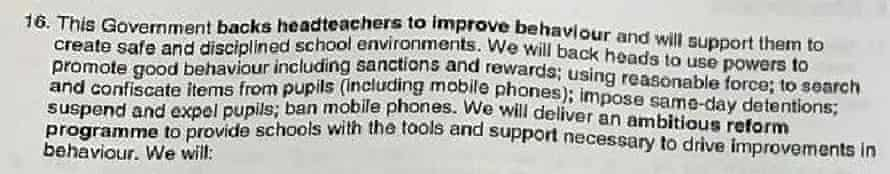 An excerpt on behaviour from the briefing document