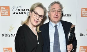 Supporting role … Robert De Niro with Meryl Streep at the Lincoln Center gala benefit.