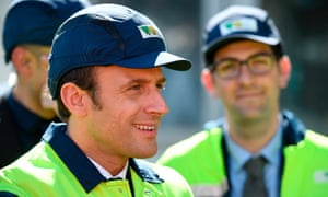 Emmanuel Macron visits a factory in Albi