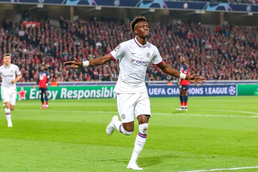 Tammy Abraham runs to the Chelsea fans after his early goal.