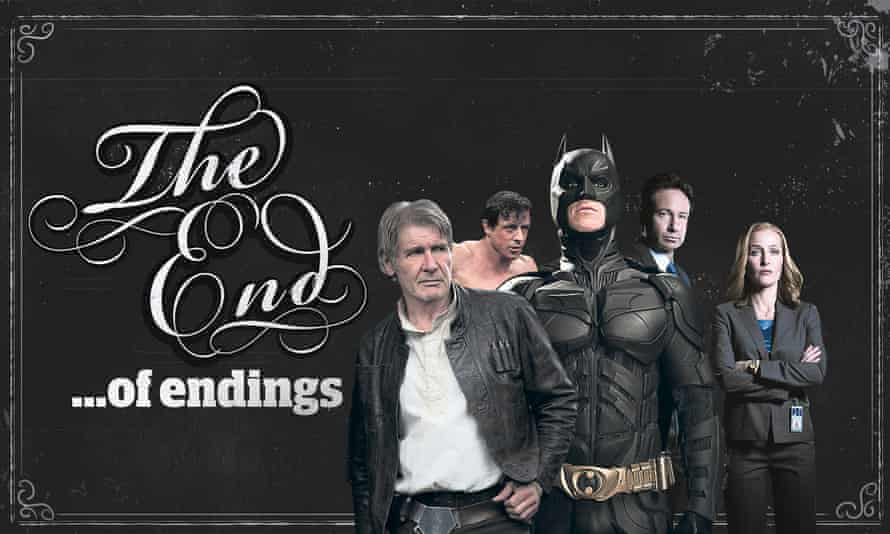 'end of endings' feature graphic with, from left: Han Solo in Star Wars; Rocky Balboa; Batman in The Dark Knight Rises; the X-Files' Mulder and Scully.