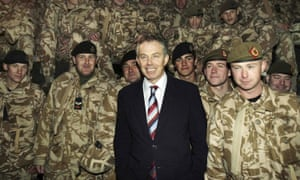 Tony Blair with British troops in Basra