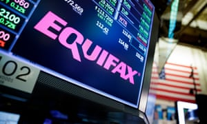 The Equifax logo on the floor of the New York Stock Exchange.