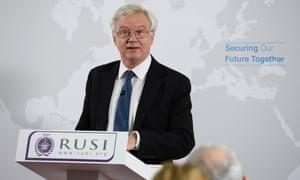 David Davis delivering his Brexit speech at RUSI.