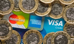 Credit cards and one-pound coins