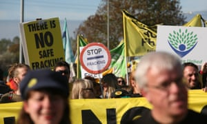 Campaigners protest against the start of fracking in Lancashire.