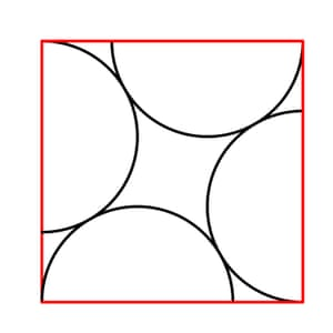 The semicircles are all identical and have radius 2.