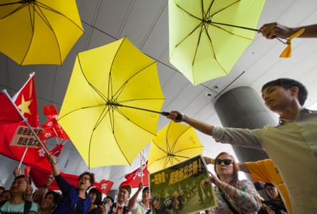 Pro-democracy demonstrators create a spectacle in Hong Kong in 2015.