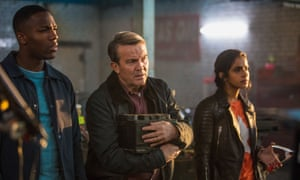 Tardis team: Ryan (Tosin Cole), Graham (Bradley Walsh) and Yaz (Mandip Gill).