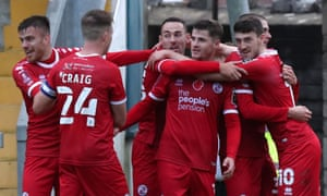 Ashley Nadesan celebrates scoring the winner in the 6-5 victory at Torquay in November's FA Cup first round