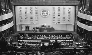 The United Nations General Assembly adopt the Universal Declaration of Human Rights, Palais de Chaillot in Paris, 10 December 1948.