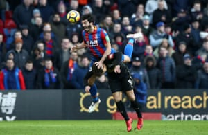 Crystal Palace's James Tomkins climbs above Newcastle Dwight Gayle to win the header during the 1-1 draw at Selhurst Park.