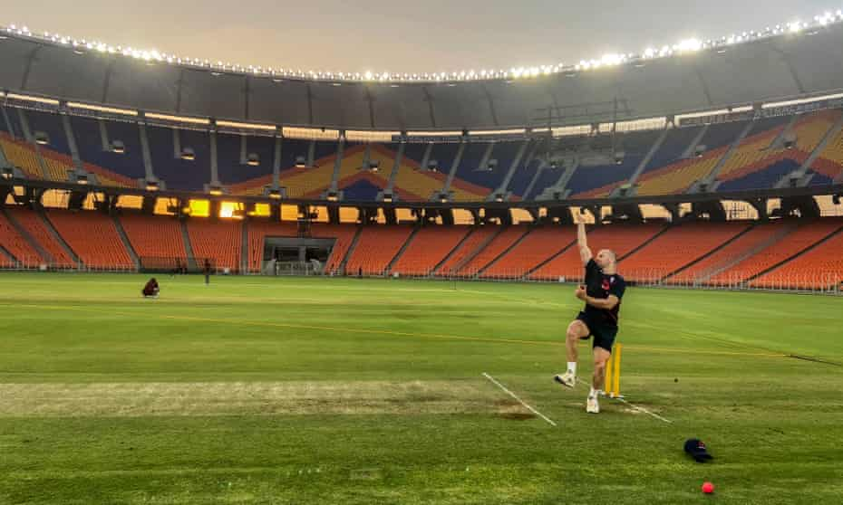 Jack Leach practises with the pink ball under the lights at the Sardar Patel Gujarat Stadium in Ahmedabad before England take on India.