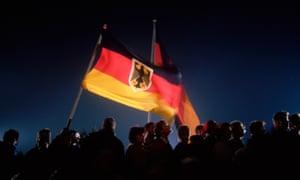 Crowd in Berlin celebrating German reunification, 3 October 1990.